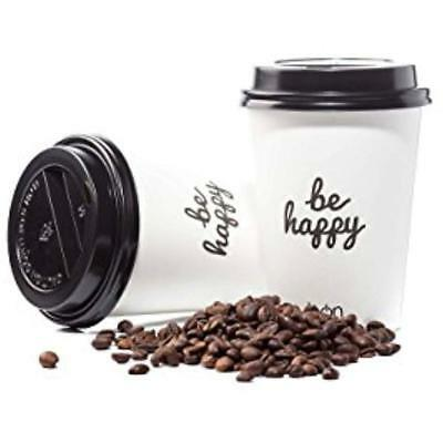 Coffee Cups With Lids To Go 12 Oz 100 Pack PREMIUM Disposable Paper Familly Hot