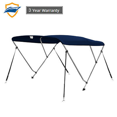 3 Bow Bimini Boat Top Cover with storage boot, Color Navy Blue, w/4 straps