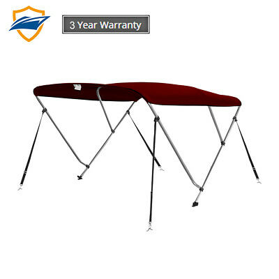 3Bow Bimini Boat Top Cover with storage boot, Color Burgundy,w/4 straps