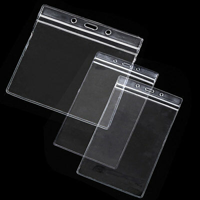 10PCS Waterproof Clear Plastic ID Card Badge Holder Pocket Pouches Bags