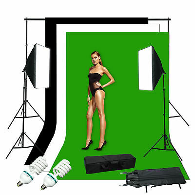 Studio Photo White Black Green Screen Backdrop Light Stand Soft Box Lighting Kit
