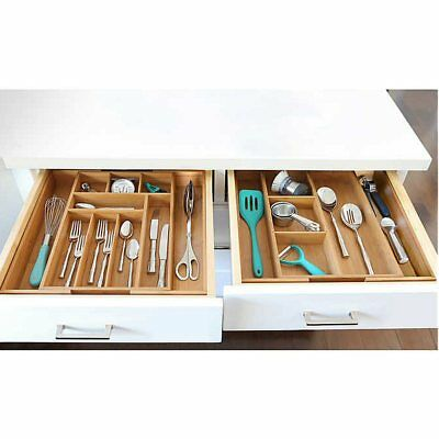 Seville Classics 2-piece Expandable Bamboo Drawer Organizer