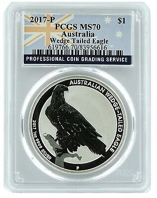 2017 Australia 1oz Silver Wedge Tailed Eagle PCGS MS70 - Flag Label