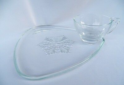 Vintage Indiana Glass Snowflake Snack Tray Plate & Cup