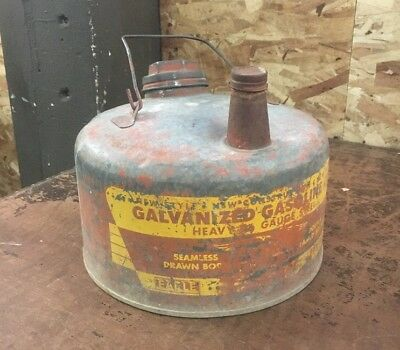 Vintage Eagle Red Galvanized Steel Gasoline Can