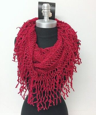 New Women's Cowl Single Loop Scarf Knit Crochet w/shiny line Soft Wrap Cranberry