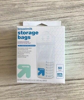 50-Count Breastmilk Storage Bags 6OZ Up & Up New Pre-Sterilized BPA-Free