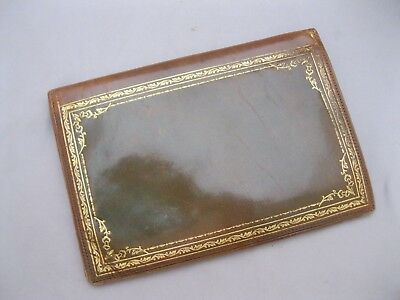 Vintage Leather Bifold Wallet/Check Book~Green~Gold Embossing~Exc Cond