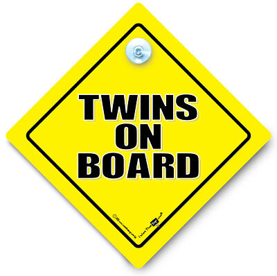 Twins On Board Car Sign, Twins Car Sign, Baby On Board Sign, Suction Cup Sign