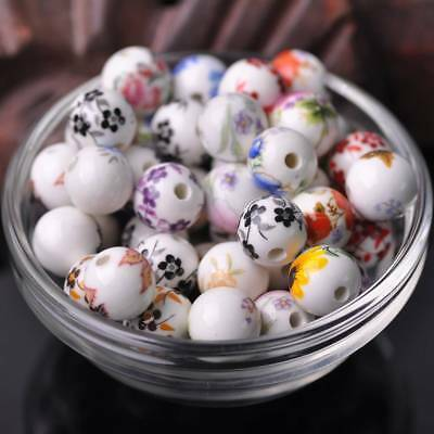 10mm/12mm Flowers Random Mixed Round Loose Ceramic Porcelain Spacer Charms Beads