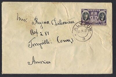 """LITHUANIA U.S. 1937 """"ALYTUS 20.1X.37"""" TO TERRYVILLE CONN FRANKED Sc. # C81"""