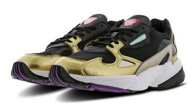 1a65471ebc76 adidas Falcon Black Gold Women s Originals Running Shoes 100%AUTHENTIC Rare  DS