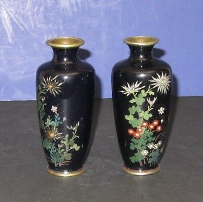 Japanese Antique Pair Of Vases In Black Cloisonne 4999 Picclick
