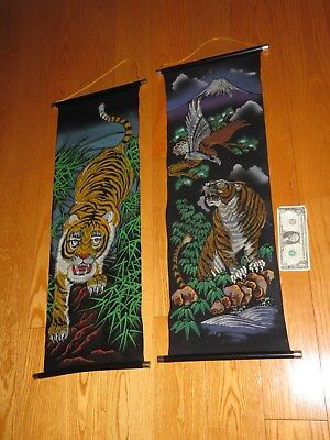 Vintage Tiger Asian Black Velvet Tapestry Painting Painted Wall Hanging M16