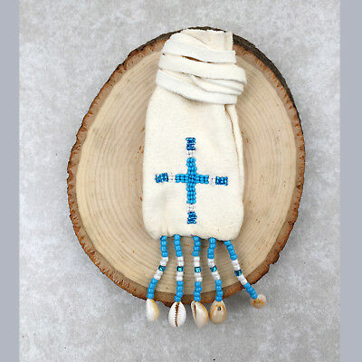 Native American Indian Medicine Bag Authentic Handmade-Beaded Leather-4Direction