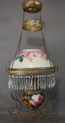 19thC Antique VICTORIAN Pull Down BRASS Flower GLASS CRYSTAL Oil LAMP CHANDELIER