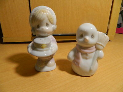 1994 Precious Moments Salt & Pepper Shakers – Little Girl and Snowman