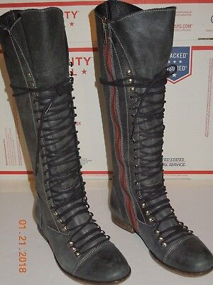 Nosotros mismos Oceano diluido  STEVE MADDEN PERRIN Lace Up Knee High Boot Side Zipper Charcoal Leather  size 6 G - $32.99 | PicClick