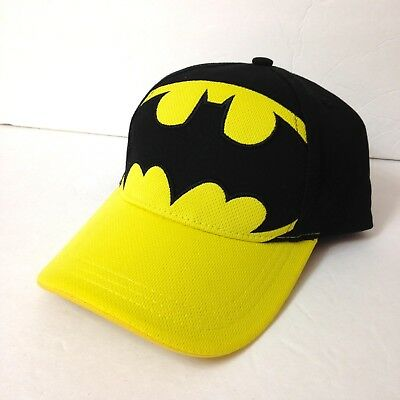 size 40 cf364 7aef6 ... coupon for youth size boys girls kids batman hat black yellow curved  bill big logo dc