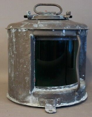 Antique WWII Era JAPANESE Starboard SHIP LANTERN Old MARITIME Boat GREEN LIGHT