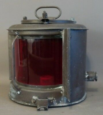 Antique WWII Era JAPANESE Port SHIP LANTERN Old MARITIME Boat RED LIGHT Lamp