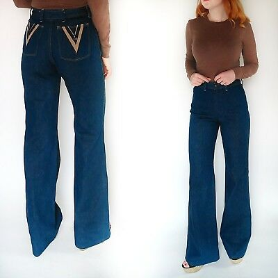 VTG 70s Maverick Wide Leg Jeans High Waist Bell Bottoms Trousers Hippie Boho S M