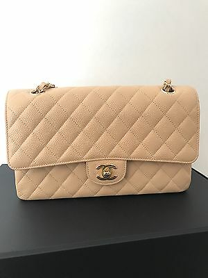 6f1b818dd247a9 CHANEL Classic Caviar ML Medium Large Light Beige Claire Flap Bag Gold  Hardware