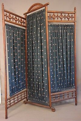 Ca.1900 Antique STICK & BALL Old VICTORIAN OAK Wood CHILD SIZE DRESSING SCREEN