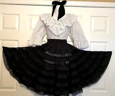 """Round & Square Dance White Blouse """"fashions By Bettye"""", & Black Skirt & Tie  S"""