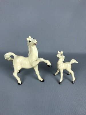 Vintage White Horse And Foal Ceramic Figurine Decorations