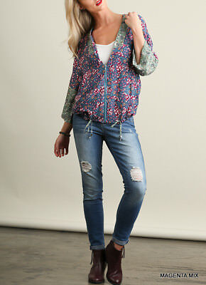 8d550a5a6 New Umgee Lightweight Floral Print Kimono Zipper Jacket Cardigan Small &  Large