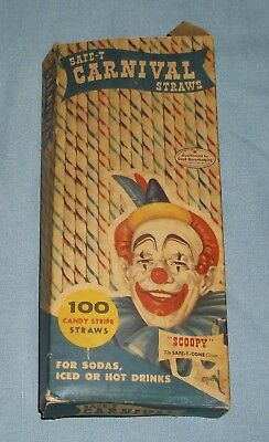 Vintage 1955 Partial Box of Safe-T Carnival Straws Scoopy Clown Airplane Back