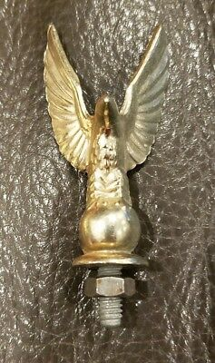 "Vintage Gold Metal Eagle Finial 2.5"" Screw On Mount Hood Ornament Topper Flag"