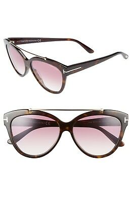 735e3d7e38 Tom Ford LIVIA TF518 52Z Dark Havana   Violet Gradient Cat Eye Sunglasses