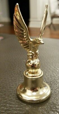 "Vintage Gold Metal Eagle Finial 3.75"" Screw On Mount Hood Ornament Flag Topper"