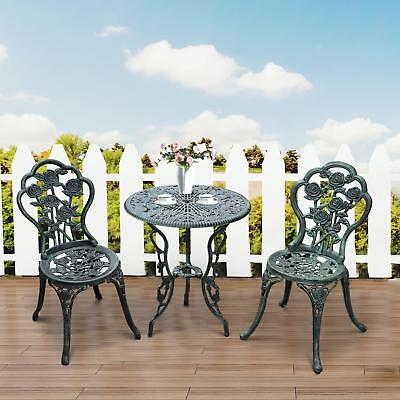3 Pcs Garden Outdoor Cast Iron Patio Furniture Antique Style Dining Chair Table