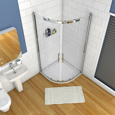 QUADRANT SHOWER ENCLOSURE Walk In Glass Cubicle Door and Tray Plinth ...