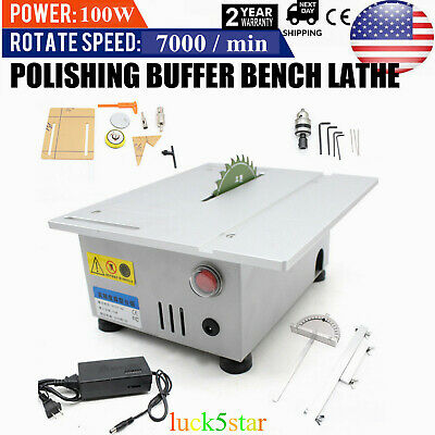 Bench Top Small Table Saw Blade Woodworking Cutting Polishing Carving Machine US
