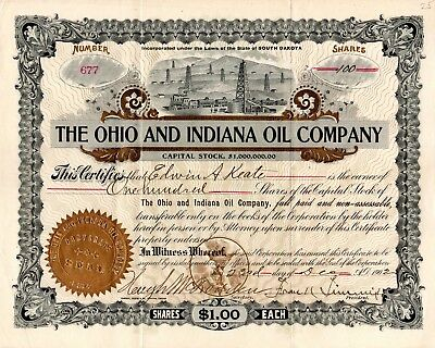 The Ohio and Indiana Oil Company of South Dakota 1902 Stock Certificate