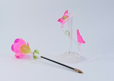 Light Pink Rose Flower Pen and Stand  of Blown Glass