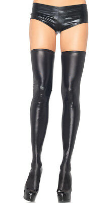 Small/Medium Womens Wet Look Thigh Highs, Black Wet Look Thigh High Stockings