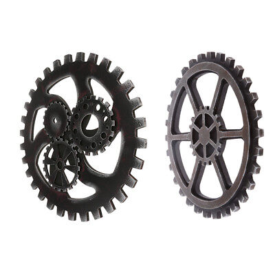 Set 2Retro Industrial Style Wooden Gear Club Wall Hanging Decoration Black