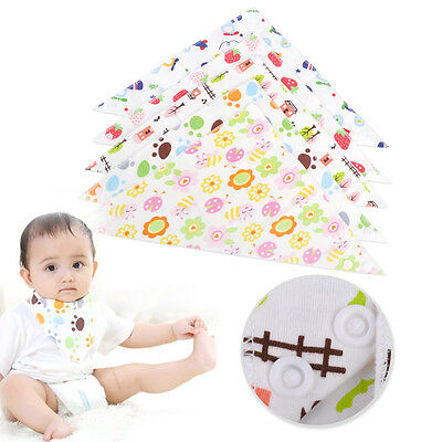 5pcs Infant Kids Baby Cotton Saliva Triangle Towel Feeding Bib Dribble Bandana