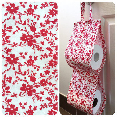 Double Toilet Roll Holder/ Toilet Paper Holder/ Bathroom Storage - Red Flowers
