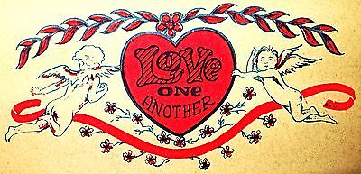 Original Love One Another Angels Iron On Transfer Cupid  DAY-GLO