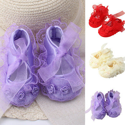 Toddler Infant Newborn Baby Girl's Princess Non-Slip Lace Flower Shoes Strict
