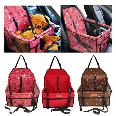 Cat Dog Booster Seat Carrier Travel Kennel Folding Carrier Bag w/ Safety Leash