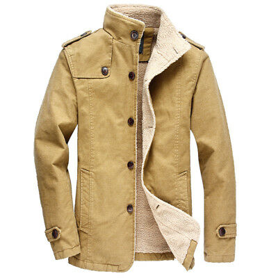 New Mens Winter Military Jacket Collar Parka Warm Faux Fur Lined Coat Outerwear