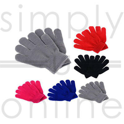 Childrens Kids winter woolly knitted warm stretchy magic gloves Girls Boys