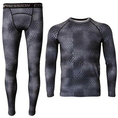 Sports Base Layer Long Sleeve Top Pants Adult Men's Sport Compression Body Fit